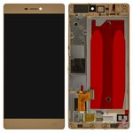 LCD compatible with Huawei P8 (GRA L09), (golden, with touchscreen, with frame, Original (PRC))