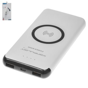 Power Bank Konfulon M12W, (10000 mAh, micro USB type-B input 5V 2A, 2 USB outputs 5 V 2.1 A, 145.6 × 71 × 16 mm, with wireless charger, with micro-USB cable Type-B, white)