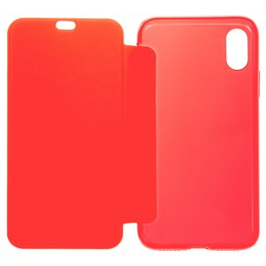 Case Baseus compatible with iPhone X, (red, matt, flip, silicone, plastic) #WIAPIPHX-TS09