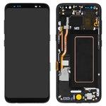 Pantalla LCD puede usarse con Samsung G950 Galaxy S8, negro, con marco, con cristal táctil, Original (PRC), midnight Black, original glass