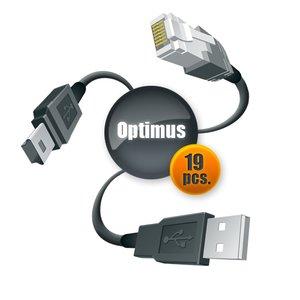 Набор кабелей Optimus для Samsung и LG (19 шт.)