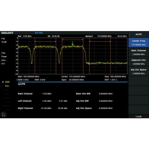 Програмне розширення для вимірювання ACPR, OBW, CP, TDP SIGLENT SSA3000XR AMK